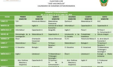 Calendario Exámenes Extraordinarios