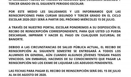 AVISO DE RE-INSCRIPCIONES PARA EL CICLO ESCOLAR 2020–2021