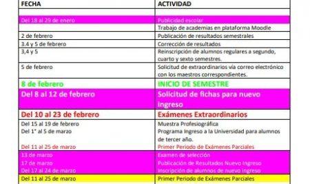CALENDARIO DE ACTIVIDADES DE ENE A JUL DEL 2021